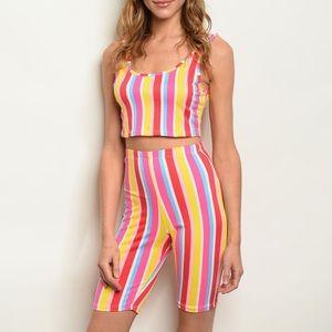 Sleeveless striped top and biker shorts set, NEW!